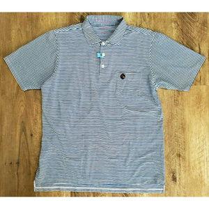 B Draddy Mens Blue White Striped Polo Size Medium